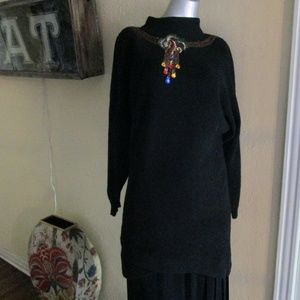 Vintage Jeweled Beaded Long Black Sweater Pullover